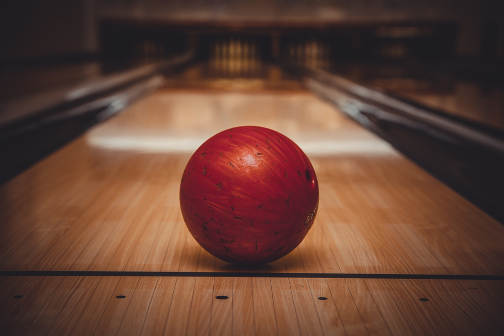 a bowling ball on a lane