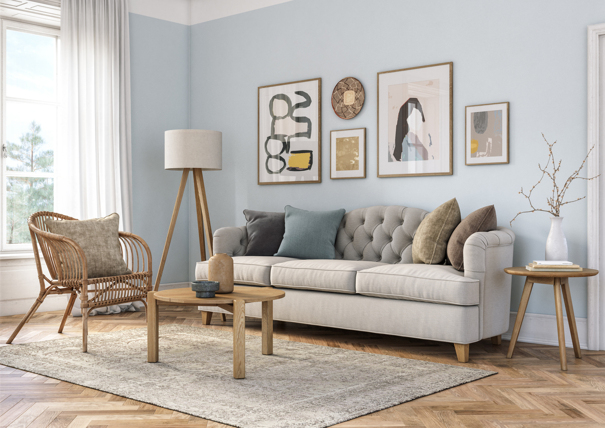 Decorated living room with furnishings and items from Kingstowne home decor stores