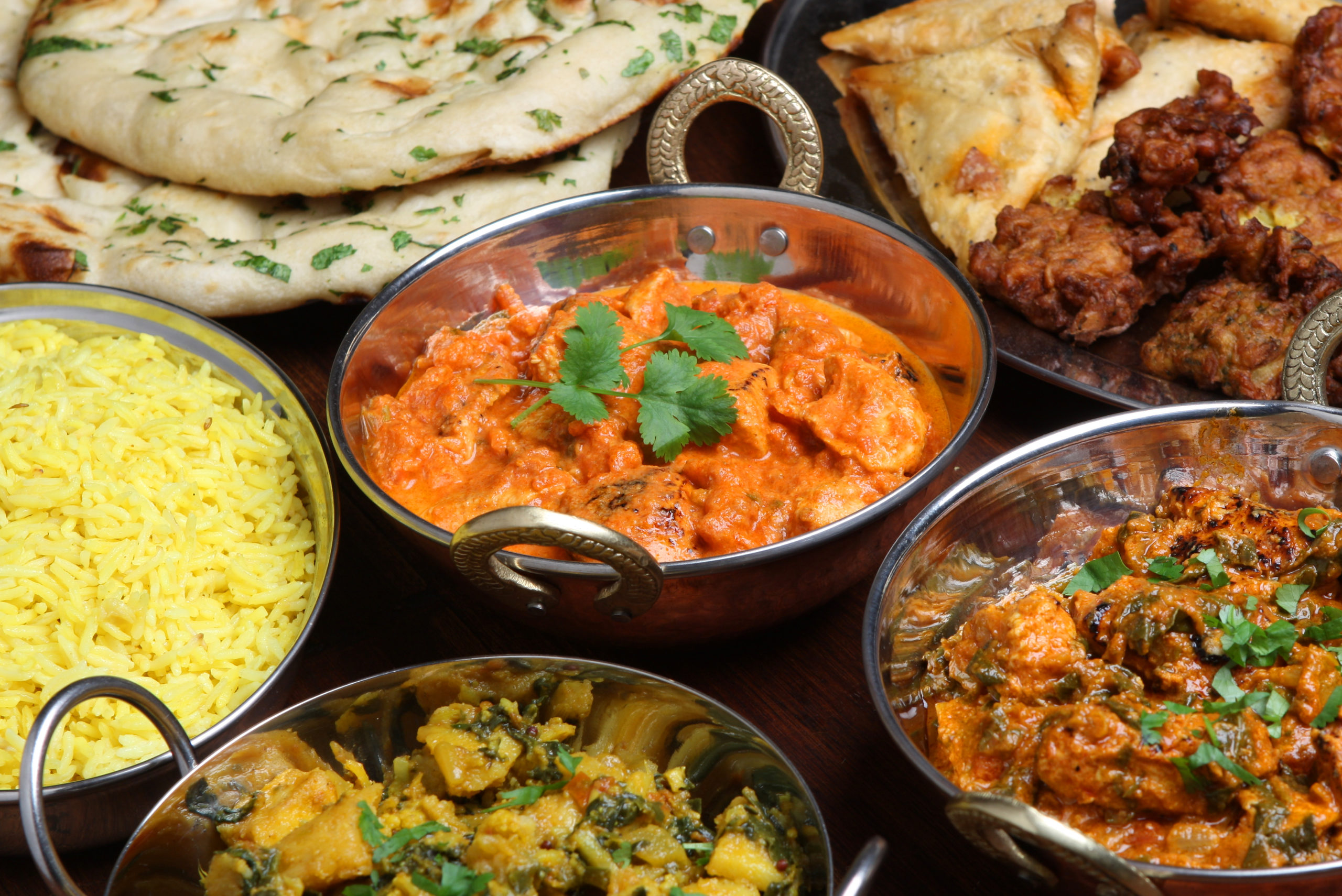 A selection of food from Indian restaurants near Kingstowne, VA