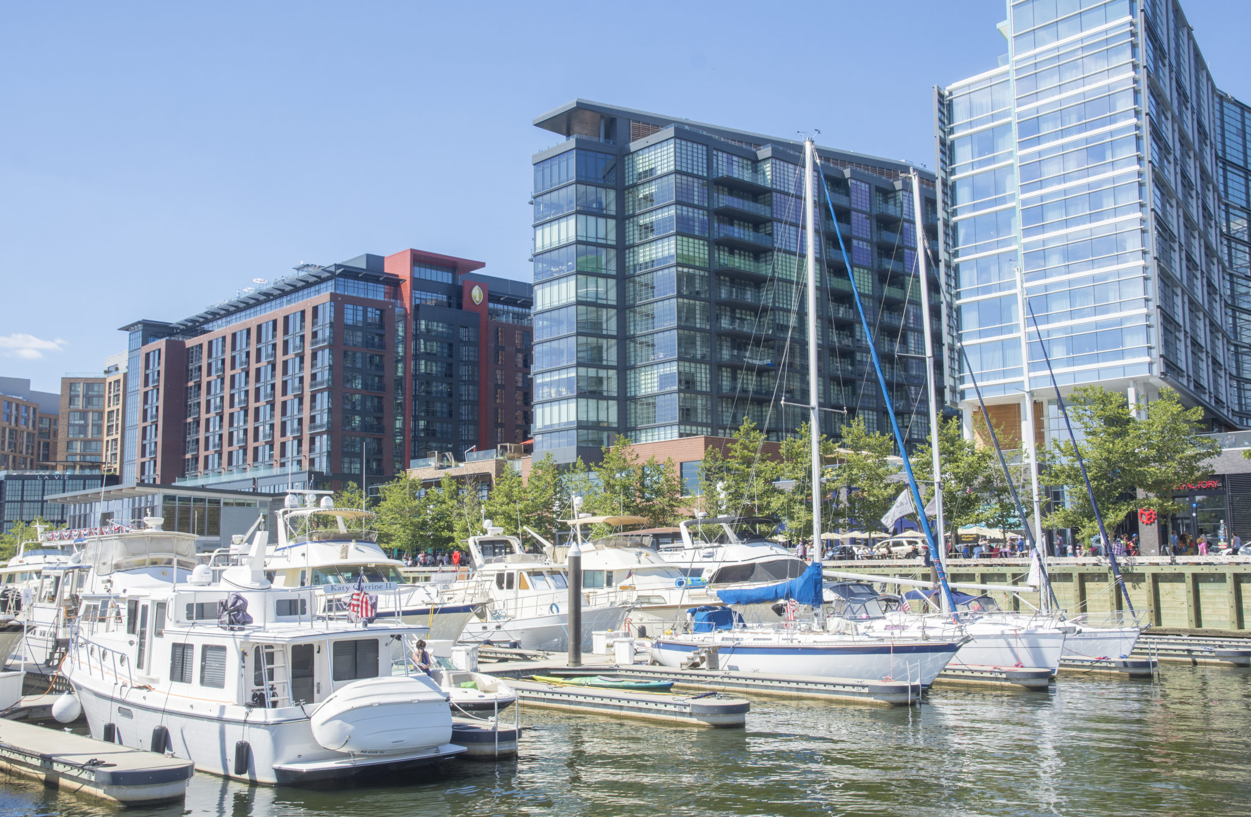 view from shops at District Wharf in Washington DC